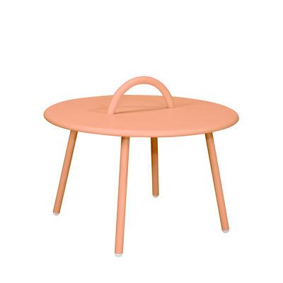 Mobilier - Tables basses - Table basse Swim Lounge / 1 anse - Ø 51 x H 30 cm - Bibelo - Rose Barbe à Papa - Acier laqué époxy