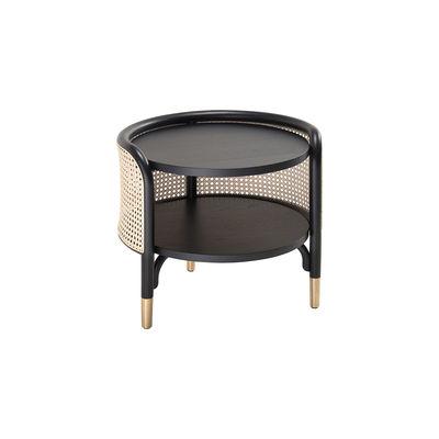 Mobilier - Tables basses - Table d'appoint Mos / 50 x 47 cm - Cannage & bois - Wiener GTV Design - Noir & naturel - Hêtre massif, Laiton, Paille