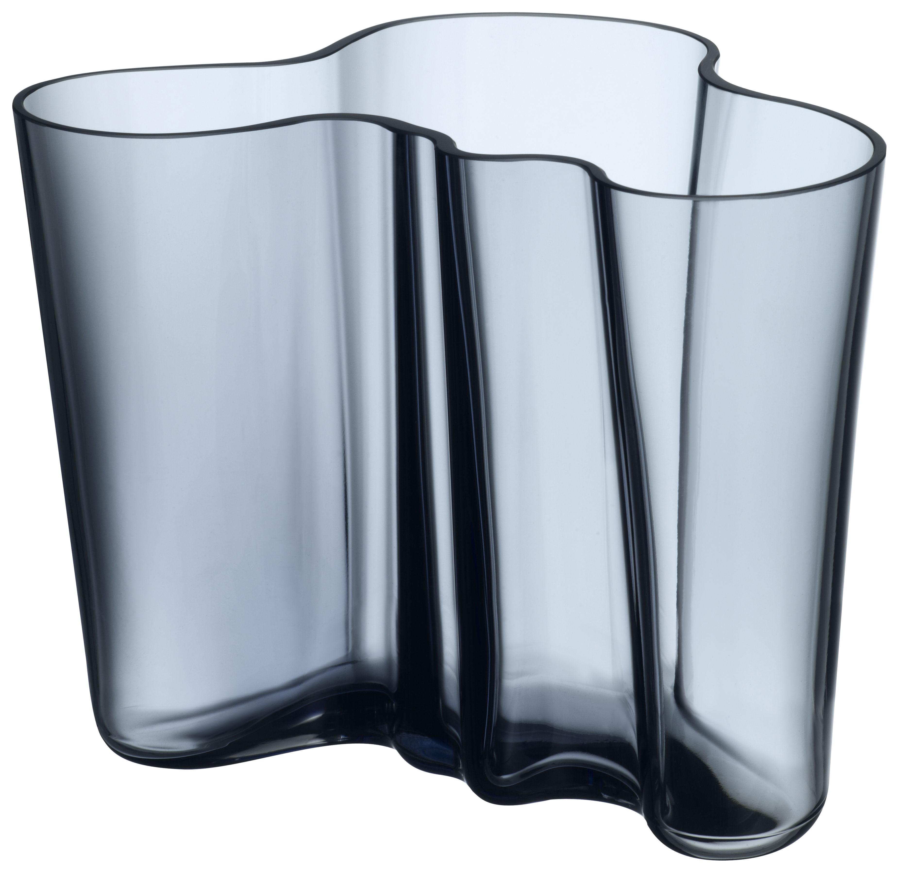 Déco - Vases - Vase Aalto / H 16 cm - Iittala - Gris orage - Verre soufflé