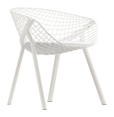 Furniture - Chairs - Kobi Armchair - Metal / Small cushion by Alias - White frame - White cushion - Fabric, Lacquered aluminium, Lacquered steel