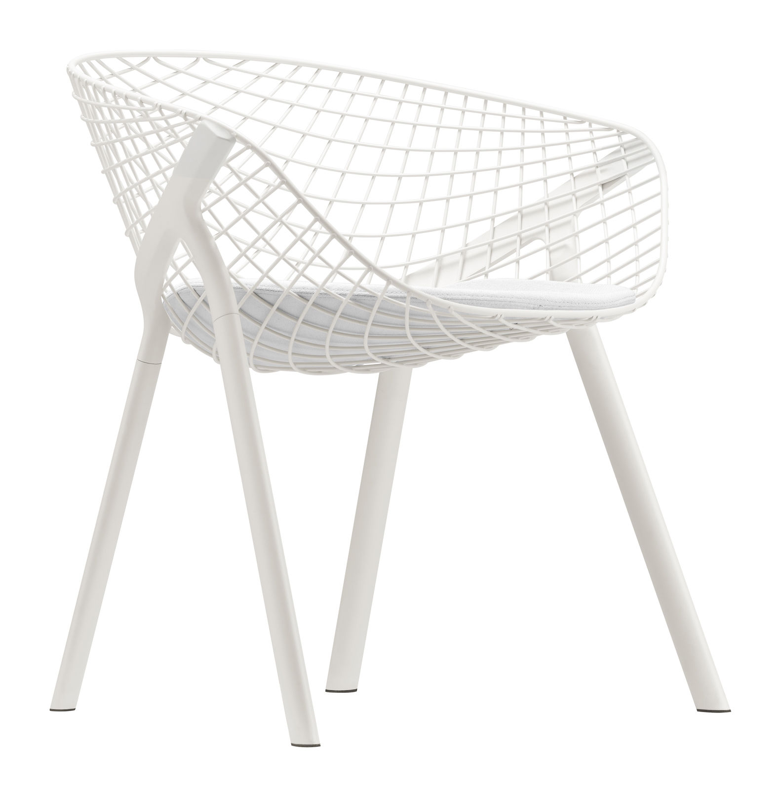 Furniture - Chairs - Kobi Armchair - Metal / Small cushion by Alias - White frame - White cushion - Fabric, Lacquered aluminium, Lacquered steel