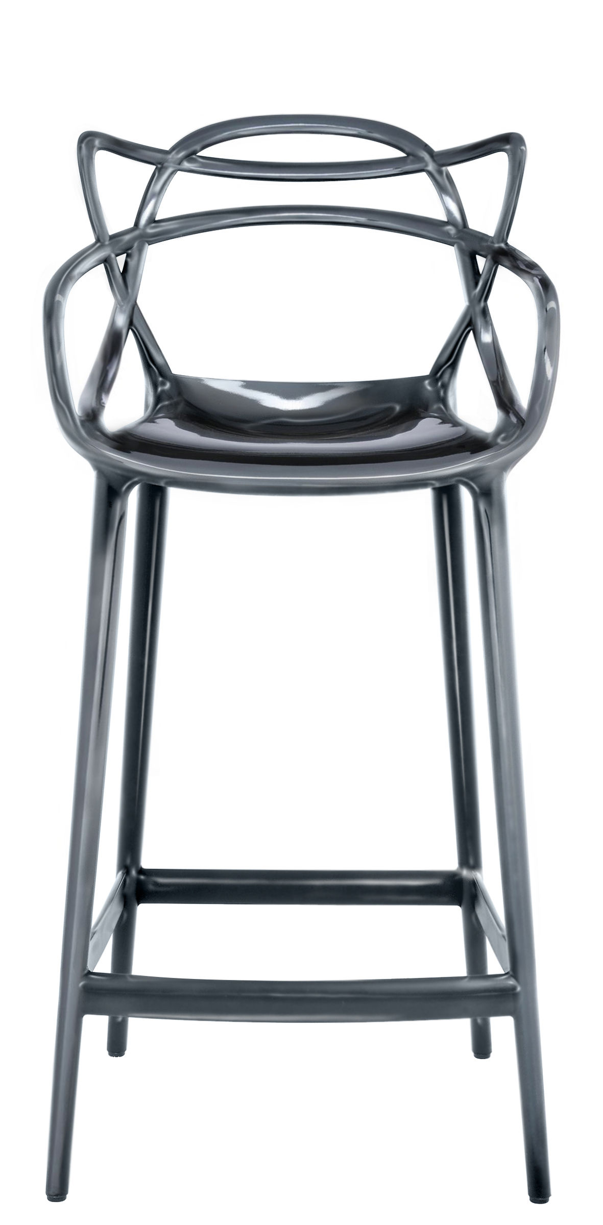 Furniture - Bar Stools - Masters Bar chair - H 65 cm - Metallized by Kartell - Titanium - Metallized polypropylen