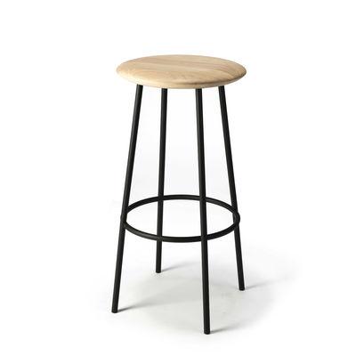 Furniture - Bar Stools - Baretto Bar stool - / H 76 cm - Solid oak & metal by Ethnicraft - Oak / White foot - Solid oak, Varnished metal
