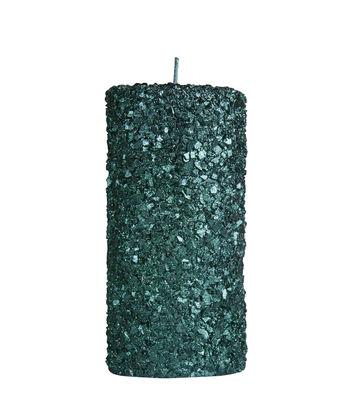 Interni - Candele, Portacandele, Lampade - Candela Pillar - / Large - H 15 cm di & klevering - Large / Verde con paillette - Cera