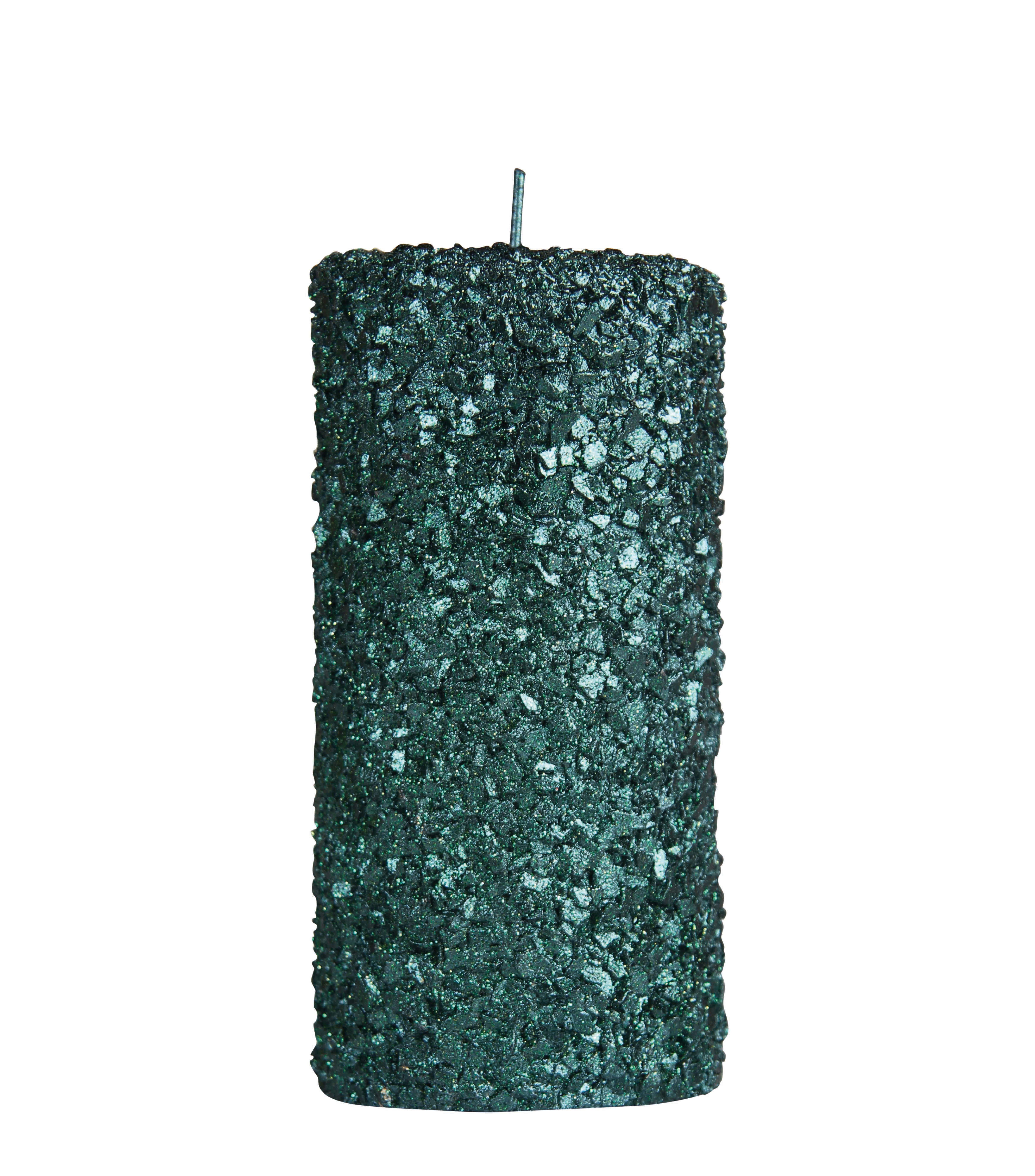 Decoration - Candles & Candle Holders - Pillar Candle - / Large - H 15 cm by & klevering - Sequinned green - Wax