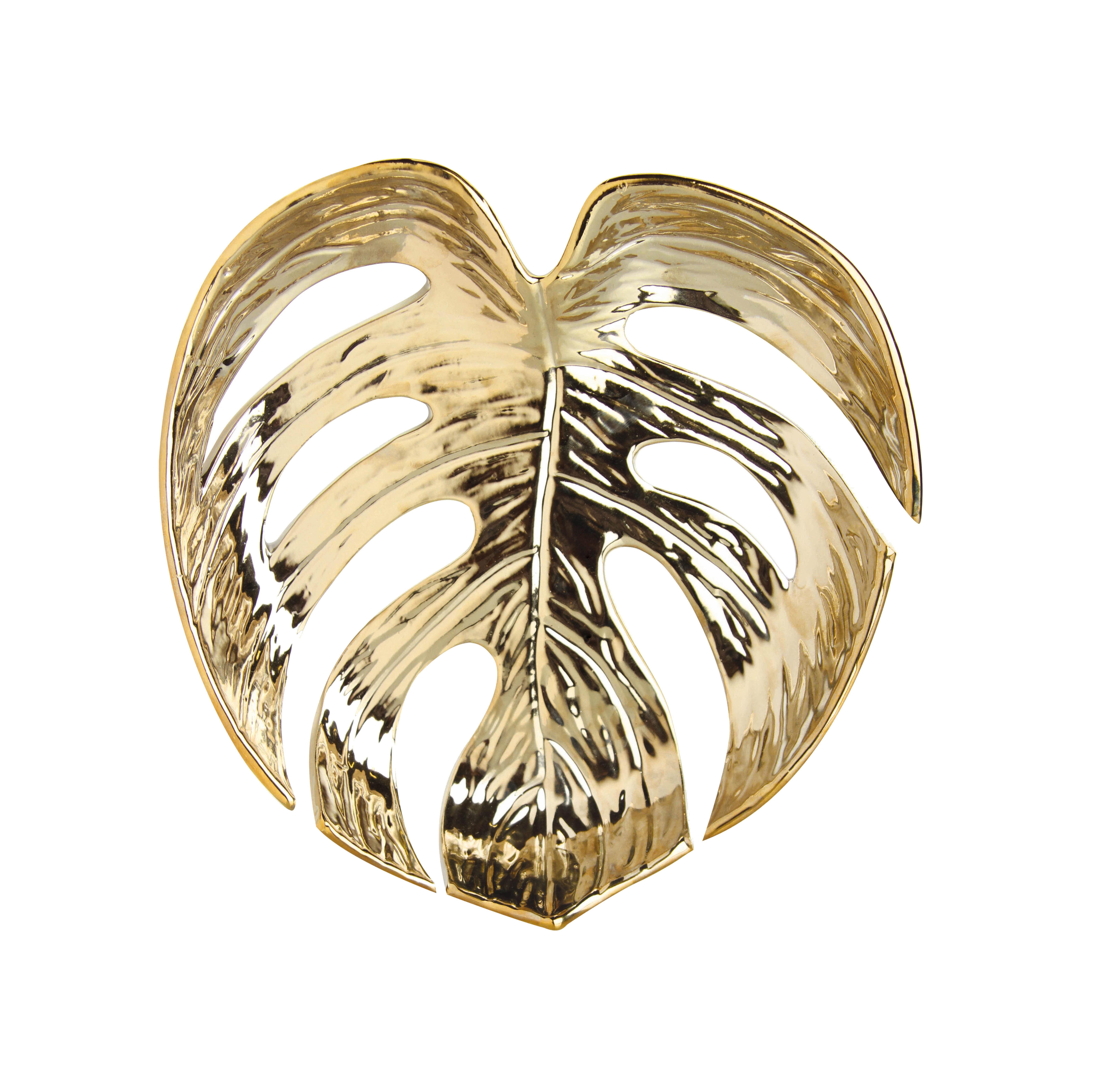 Tavola - Cesti, Fruttiere e Centrotavola - Cesto Leaf Medium - / Porcellana - 25 x 26 cm di & klevering - Medium / Dorato - Porcellana