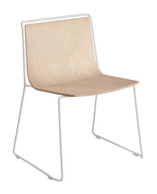 Mobilier - Chaises, fauteuils de salle à manger - Chaise Alo / Coque stratifié - Ondarreta - Bois / Structure blanche - Acier, Hêtre verni