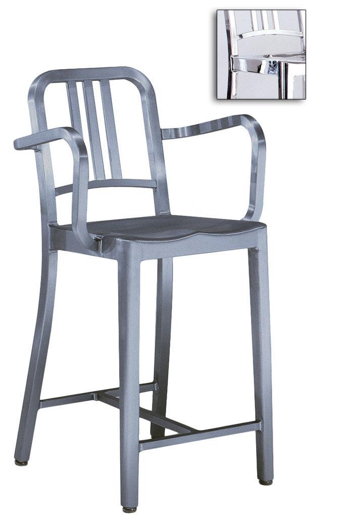 Emeco Bar Accoudoirs 76 Aluminium Cm De Indoor Poli H Navy Chaise Y6gyb7f