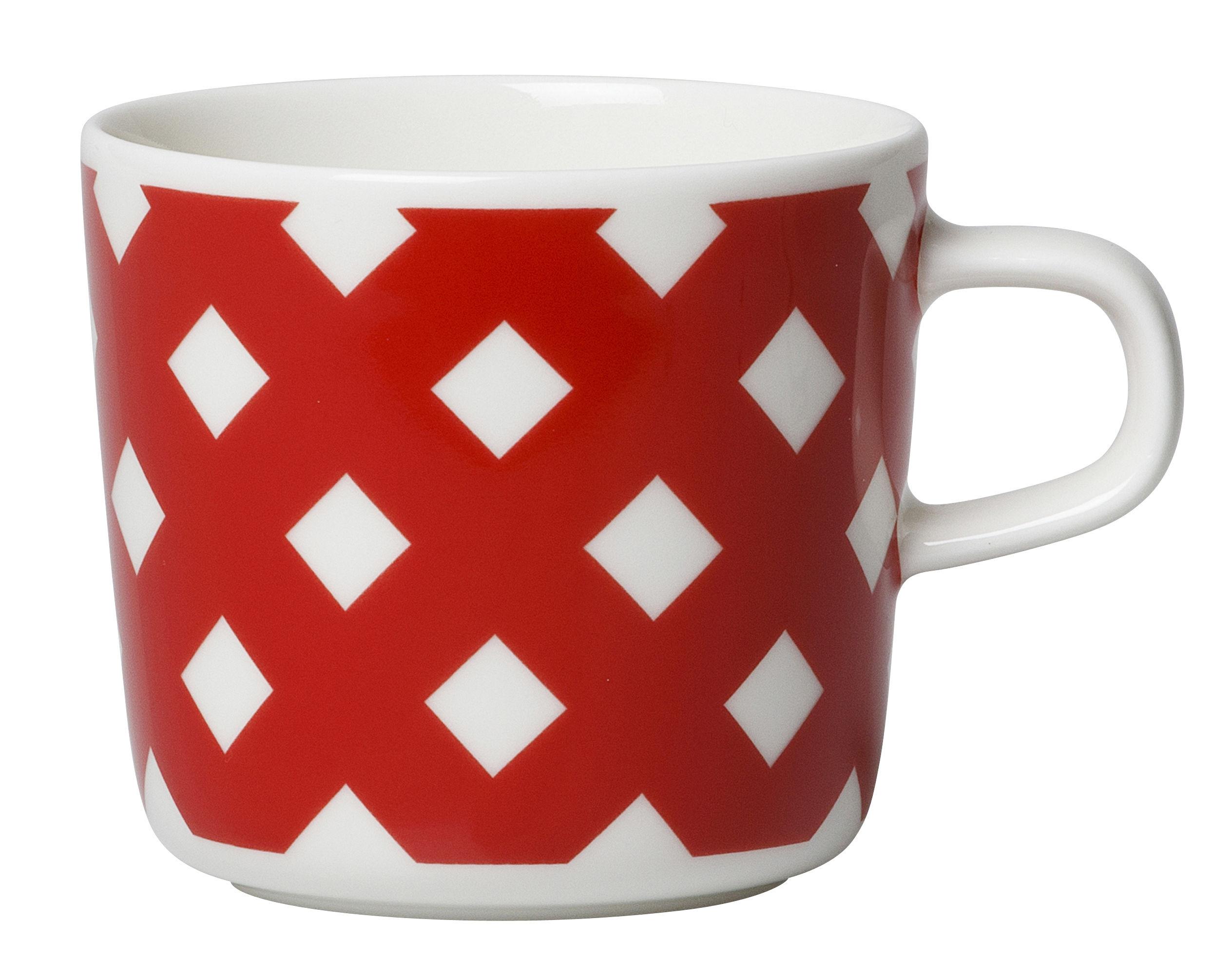 Tableware - Coffee Mugs & Tea Cups - Okko Coffee cup by Marimekko - Okko / White and red - Enamelled china