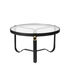 Adnet Coffee table - / Ø 70 cm - Leather & glass by Gubi