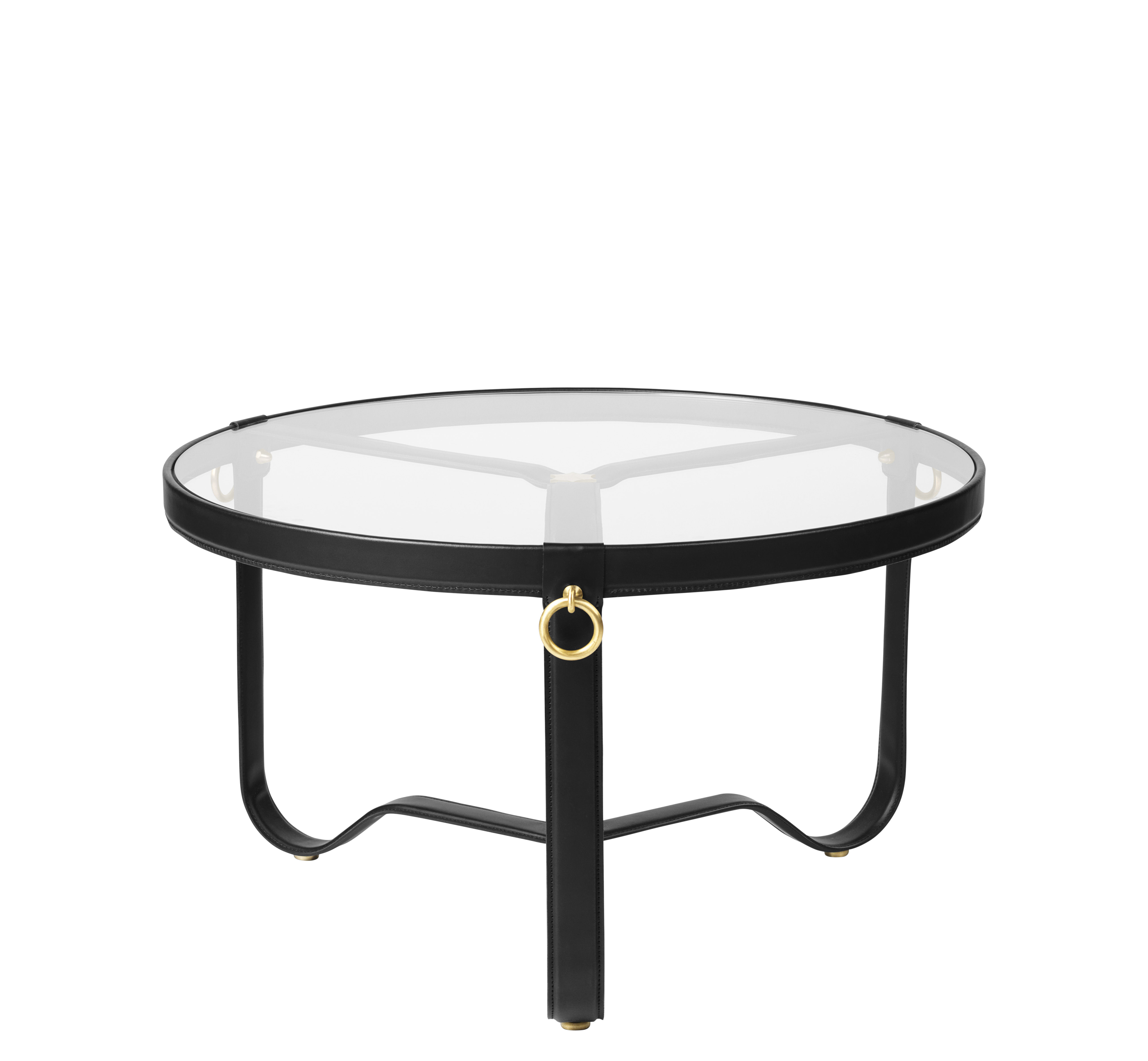 Furniture - Coffee Tables - Adnet Coffee table - / Ø 70 cm - Leather & glass by Gubi - Black / Transparent - Brass, Glass, Leather, Metal