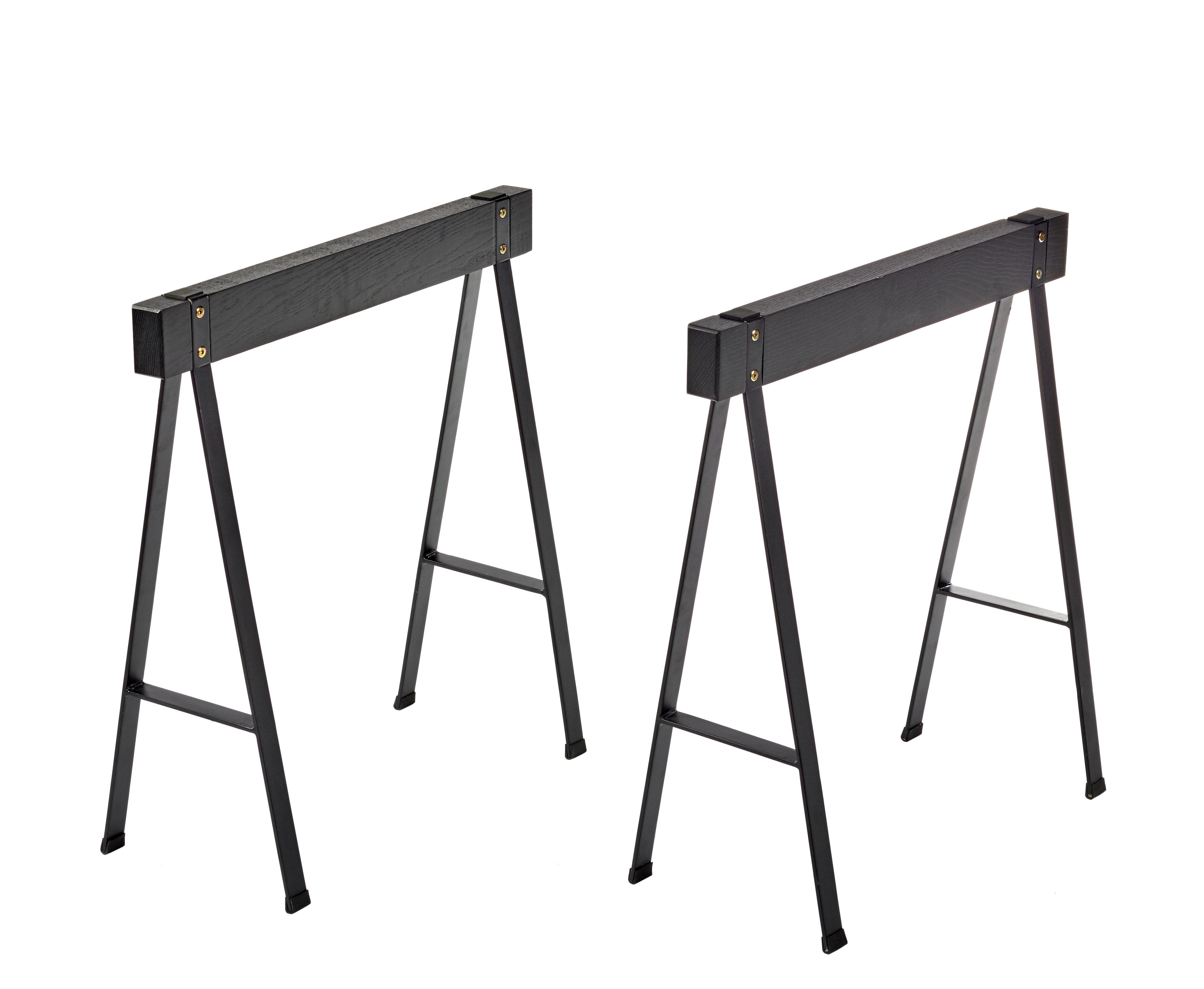 Arredamento - Mobili da ufficio - Coppia di cavaletti Studio Simple - / Rovere - L 70 x H 71 cm di Serax - Nero - Metallo, Rovere