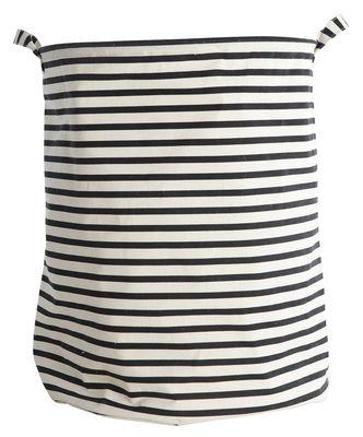 Corbeille à linge Stripes /Ø 40 x H 50 cm - House Doctor blanc,noir en tissu