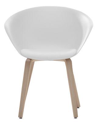 Mobilier - Chaises, fauteuils de salle à manger - Fauteuil Duna 02 / Pieds bois - Coussin d'assise - Arper - Blanc / Coussin blanc / Pieds chêne blanchi - Chêne blanchi, Mousse, Polypropylène, Tissu