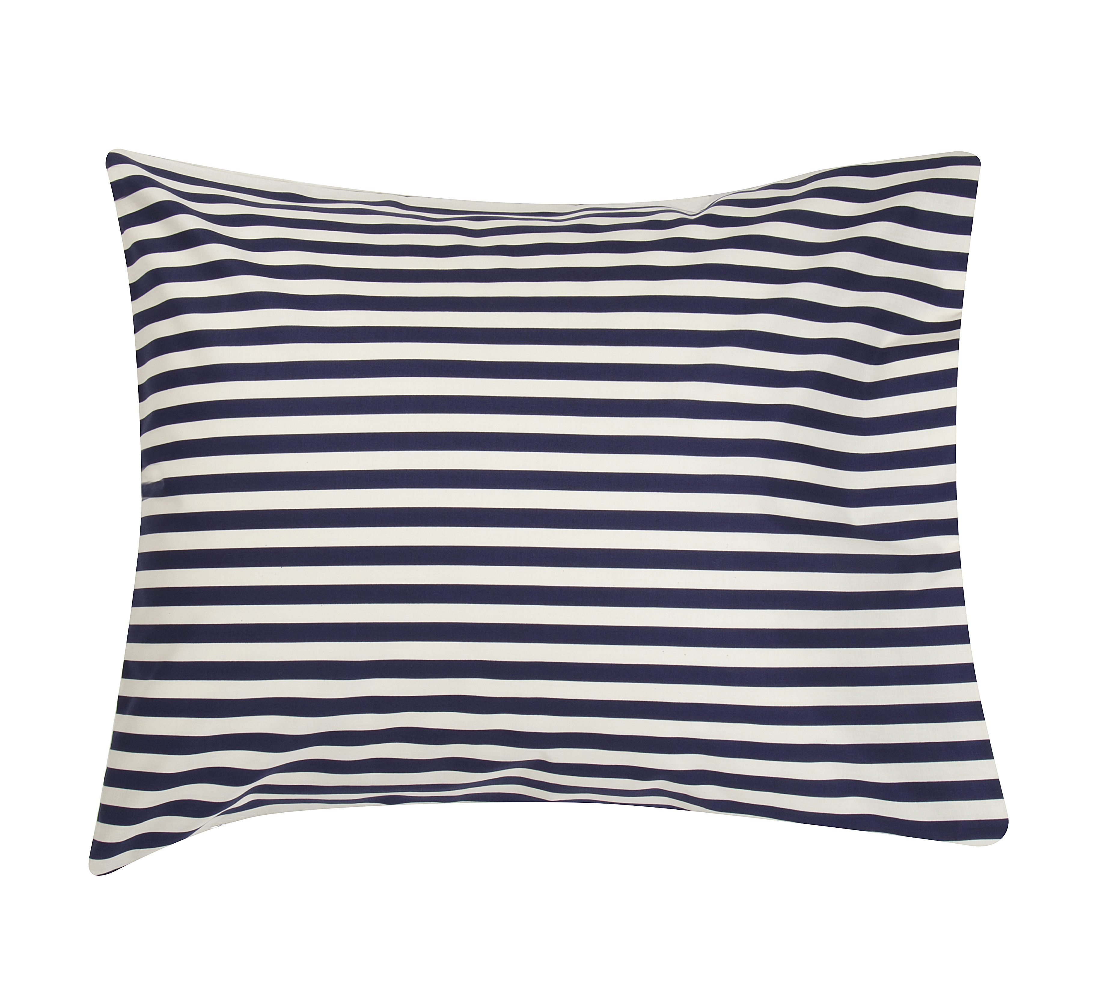 Interni - Cuscini  - federa Oiva Tasaraita - / 65 x 65 cm di Marimekko - Tasaraita / Bianco & blu marine - Cotone
