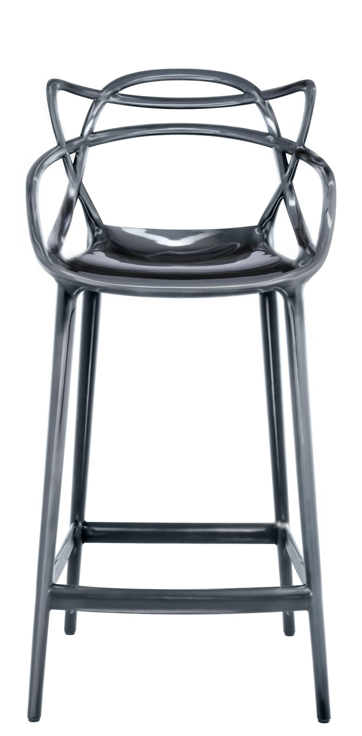 Möbel - Barhocker - Masters Hochstuhl / H 65 cm - metallic - Kartell - für Haus und Garten - Polypropylen, metallisiert