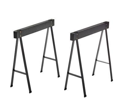 Paire de tréteaux Studio Simple / Chêne - L 70 x H 71 cm - Serax noir en métal/bois