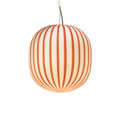 Lighting - Pendant Lighting - Filigrane Cylindre Pendant - / Red stripes - Ø 22 cm by Established & Sons - White / Red stripes - Acrylic, Metal, Mouth blown glass