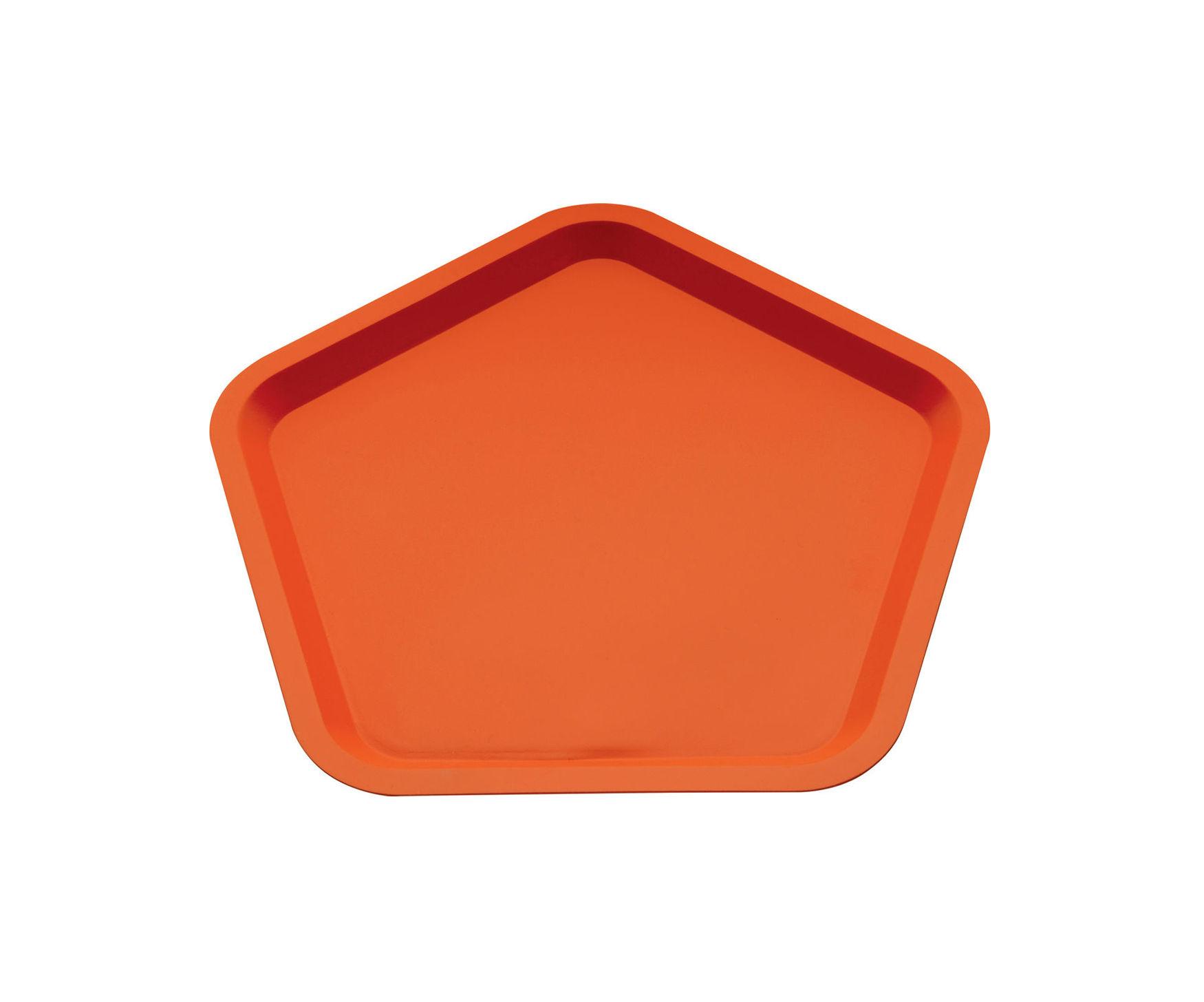 Arts de la table - Plateaux - Plateau Territoire intime / 36 x 35 cm - Alessi - Orange Terracotta - Acier inoxydable avec coloration résine époxy