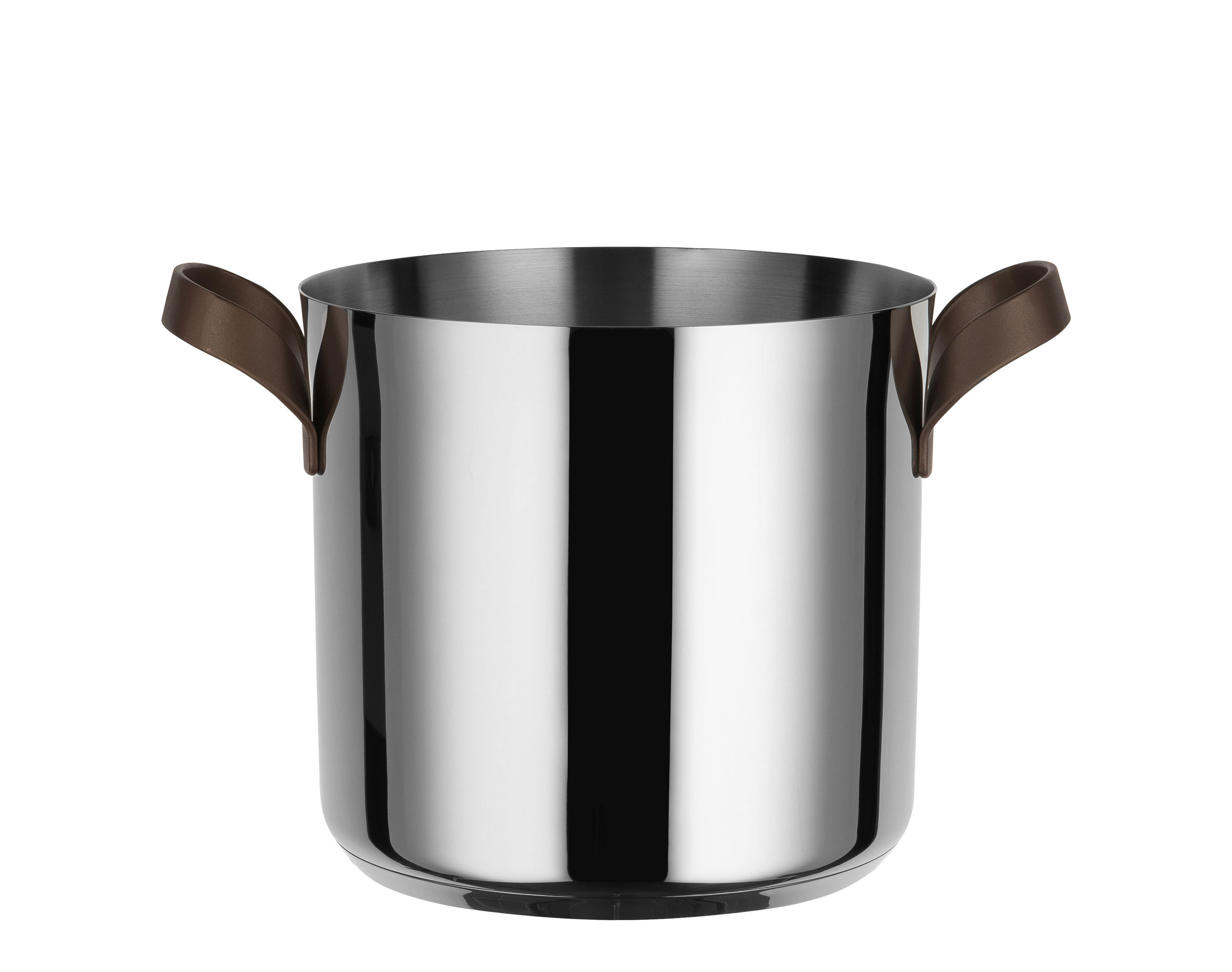 Kitchenware - Pots & Pans - Edo Pot - / H 19 cm - 4.9 L by Alessi - Steel / Brown handles - Stainless steel 18/10