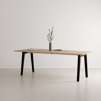 Furniture - Dining Tables - New Modern Rectangular table - / 220 x 95 cm - Eco-certified oak / 10 to 12 people by TIPTOE - Graphite black - Powder coated steel, Solid fir with oak veneer