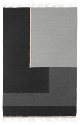 Decoration - Rugs - Kelim Section Rug - / XL - 250 x 160 cm by Ferm Living - XL - Black & White - Cotton, Wool