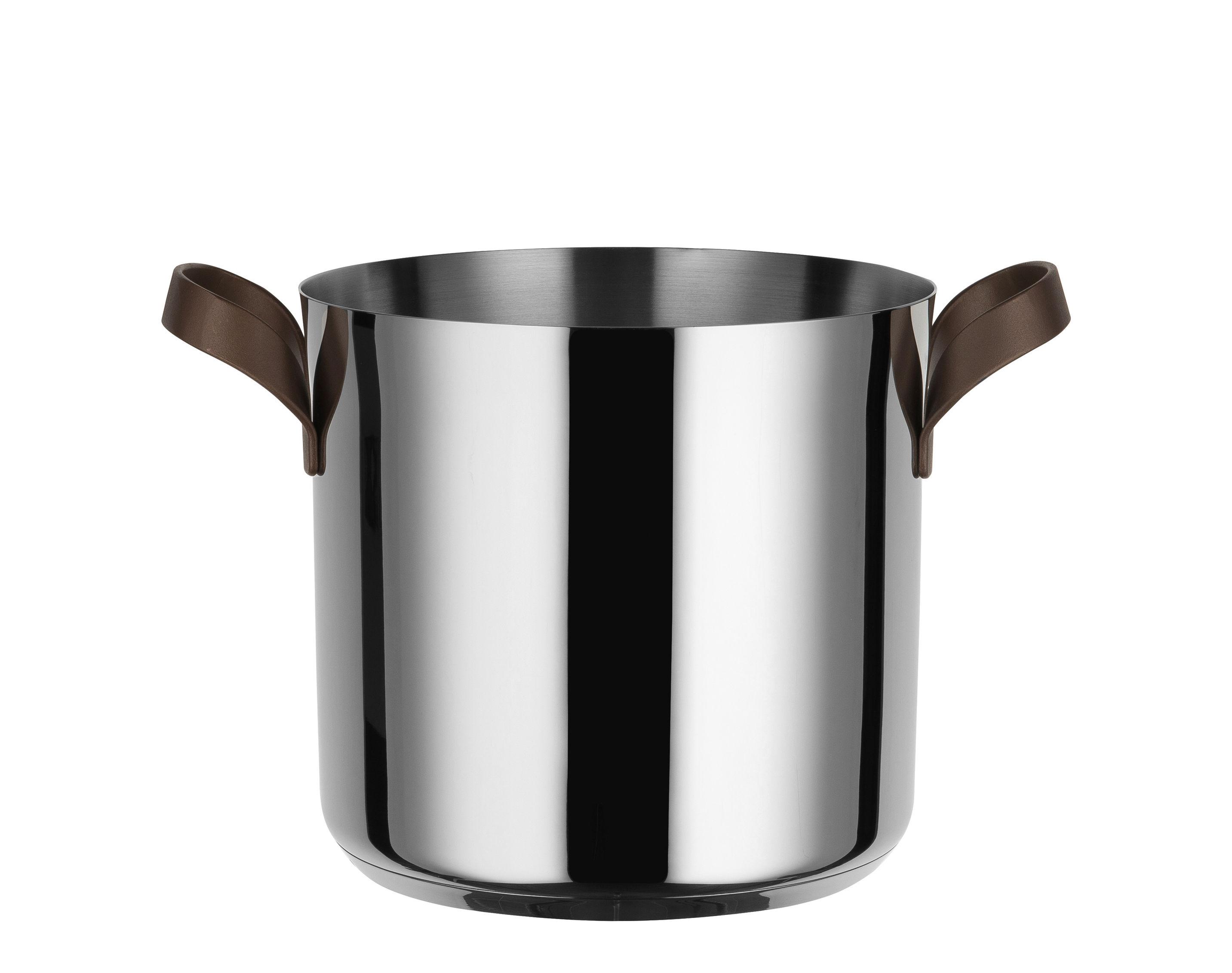 Küche - Pfannen, Koch- und Schmortöpfe - Edo Schmortopf / H 19 cm - 4,9 l - Alessi - Stahl / Griffe braun - Acier inoxydable 18/10