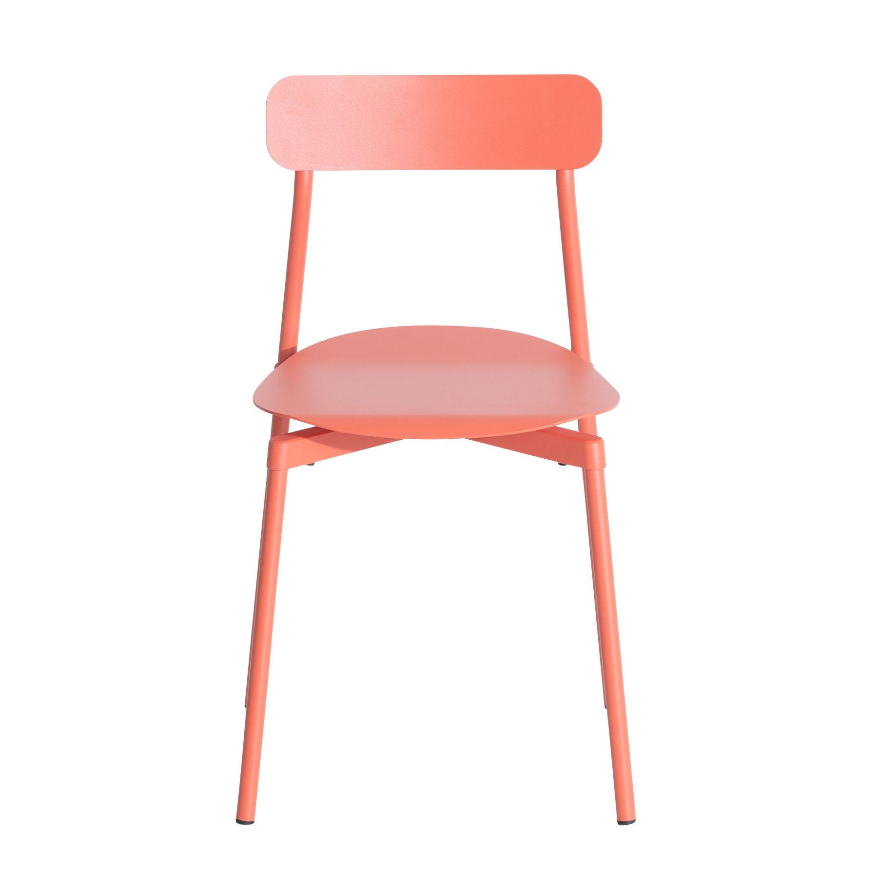 Arredamento - Sedie  - Sedia impilabile Fromme - / Alluminio di Petite Friture - Corallo - Alluminio