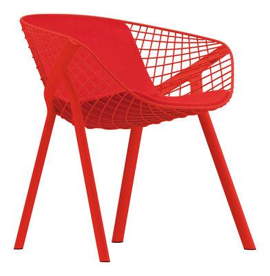 Kobi Sessel / mit großem Sitzkissen für Sitzfläche und Rückenlehne - Alias - Rot,Koralle