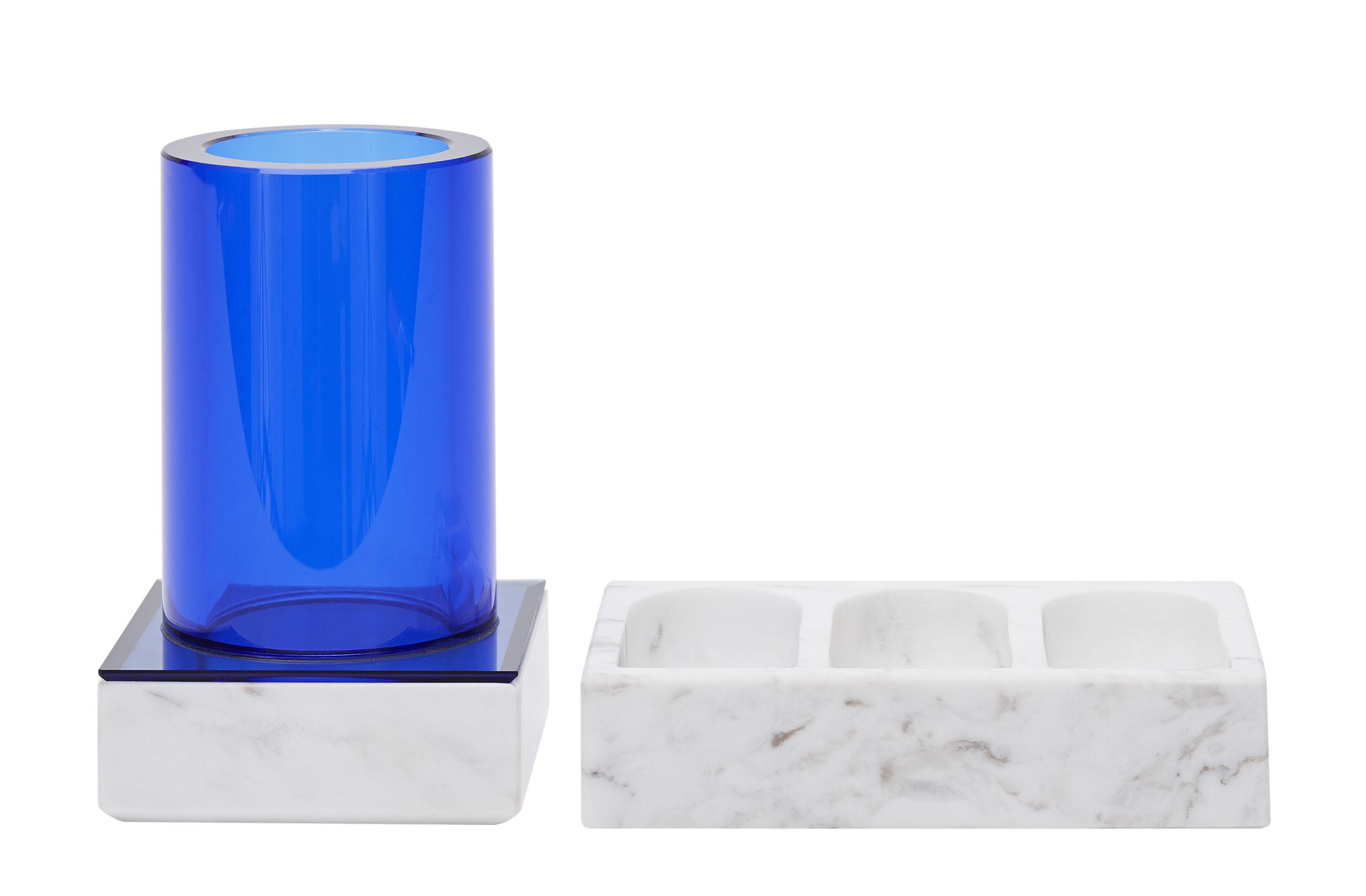 Accessoires - Accessoires salle de bains - Set Lid Tube / 1 pot + 2 plateaux marbre - Tom Dixon - Marbre blanc / Bleu - Marbre, Verre
