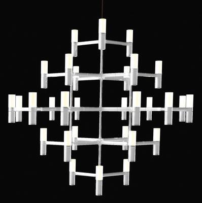 Illuminazione - Lampadari - Sospensione Crown Major - Ø 115 cm di Nemo - Ø 115 cm - Bianco opaco - Alluminio, Vetro sabbiato