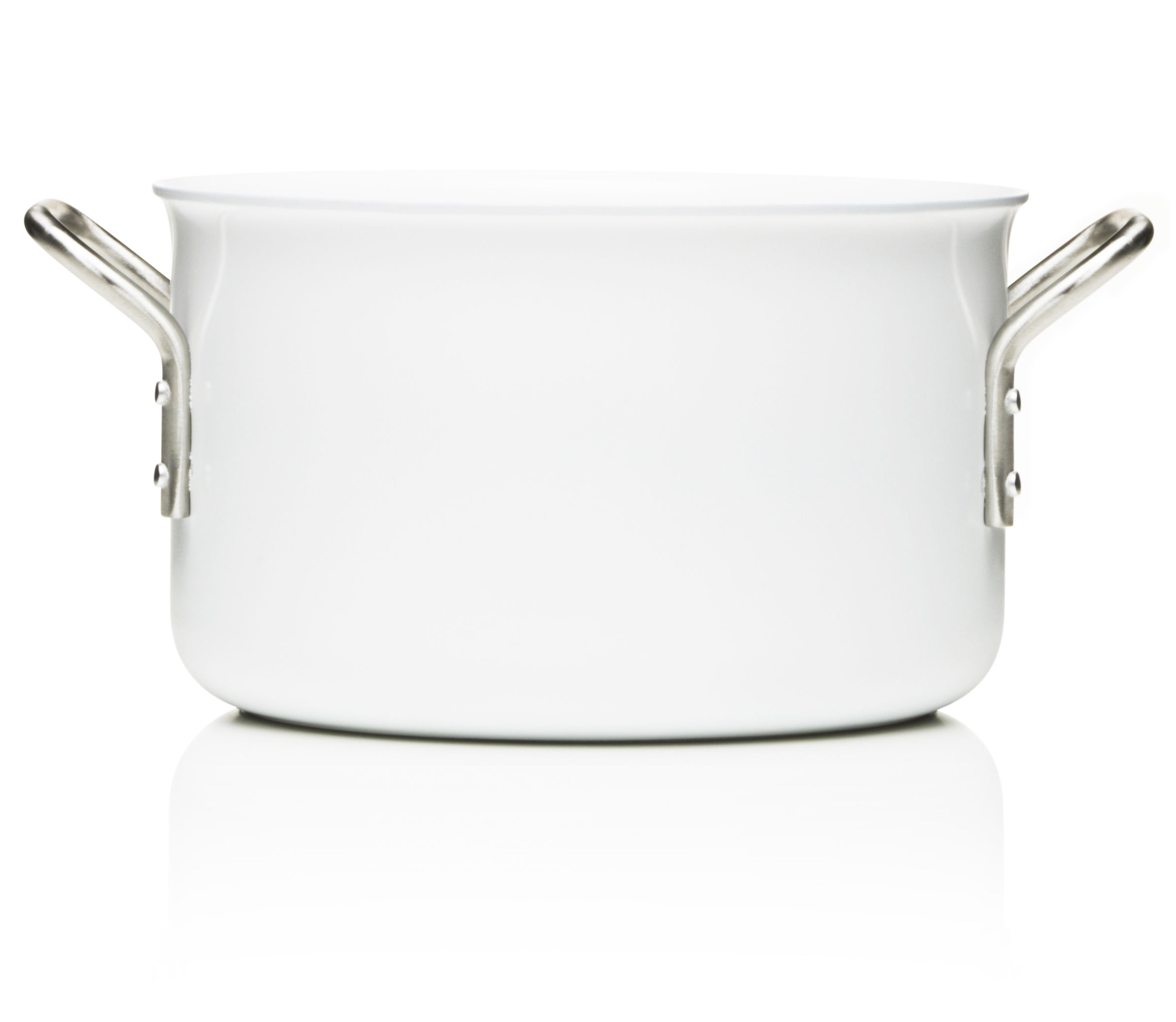 Kitchenware - Pots & Pans - White Line Stew pot - 3,8L - Web exclusivity by Eva Trio - White - Aluminium, Ceramic, Stainless steel