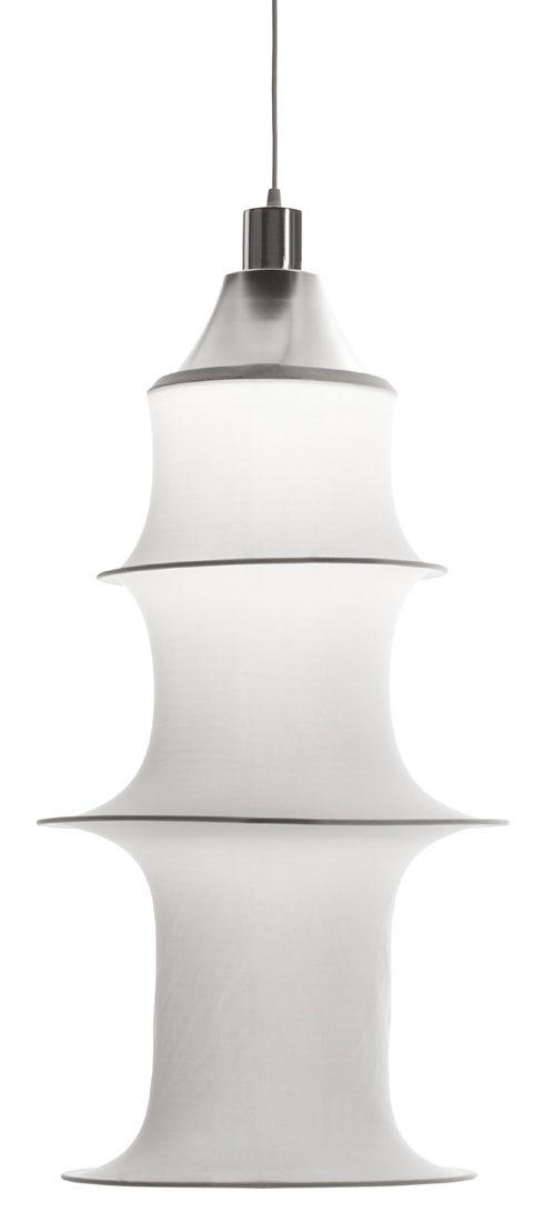 Luminaire - Suspensions - Suspension Falkland H 85 cm - Danese Light - Blanc - version non ignifuge - Acier, Tissu élastique