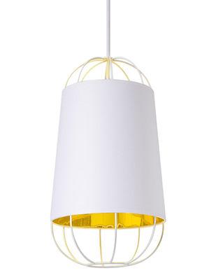 Suspension Lanterna Small / Ø 22 x H 42 cm - Petite Friture blanc/or en métal/tissu