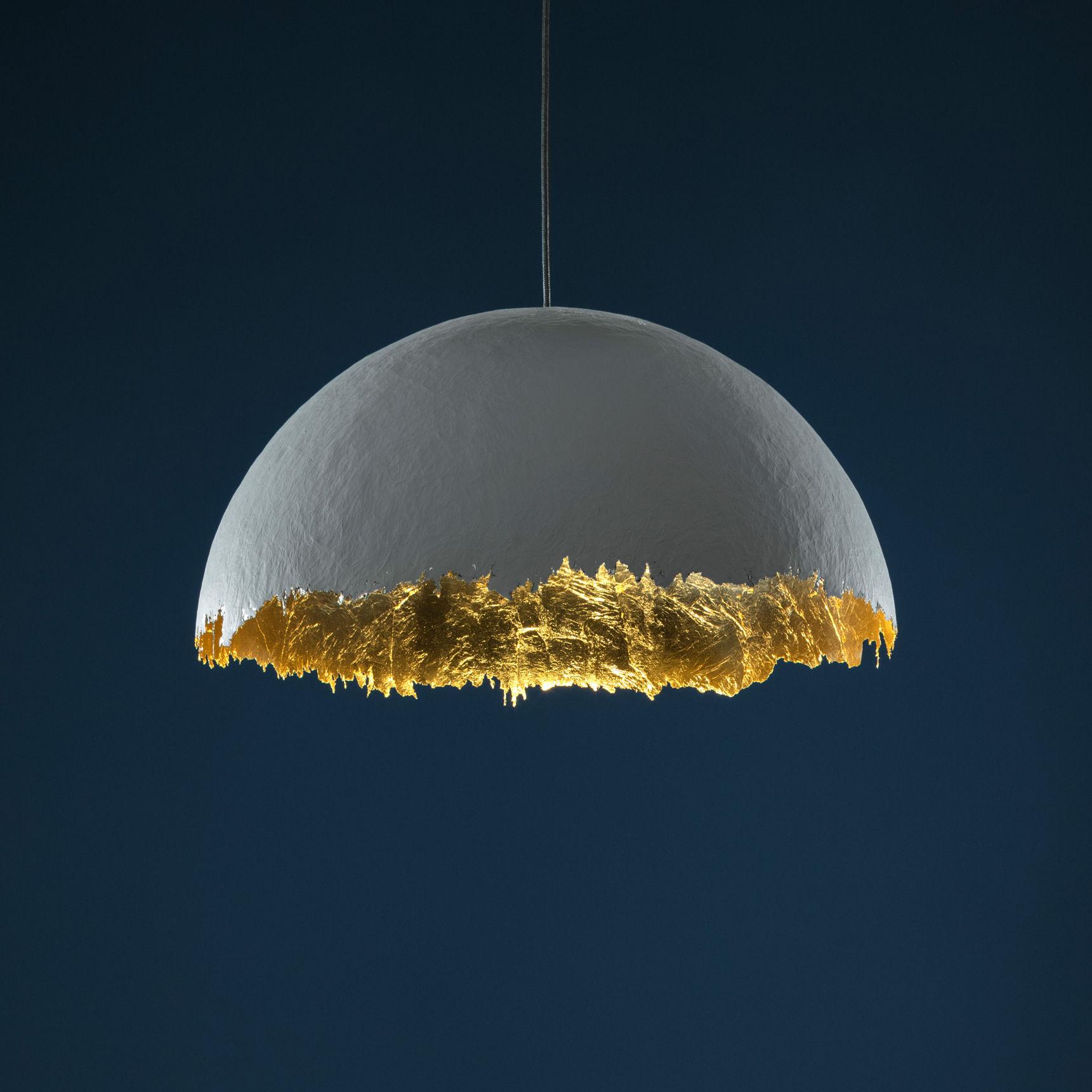 Luminaire - Suspensions - Suspension Suspension PostKrisi 49 / Ø 60 cm - Catellani & Smith - Blanc / Intérieur or - Feuille d'or, Fibre de verre