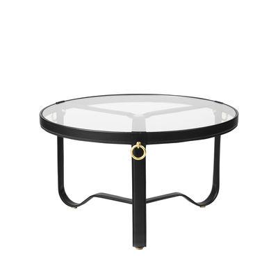 Mobilier - Tables basses - Table basse Adnet / Ø 70 cm - Cuir & verre - Gubi - Noir / Transparent - Cuir, Laiton, Métal, Verre