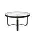 Table basse Adnet / Ø 70 cm - Cuir & verre - Gubi