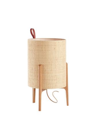 Lighting - Table Lamps - Greta Table lamp - / Ø 20 x H 33 cm by Carpyen - Natural / Oak structure - Hessian, Solid oak