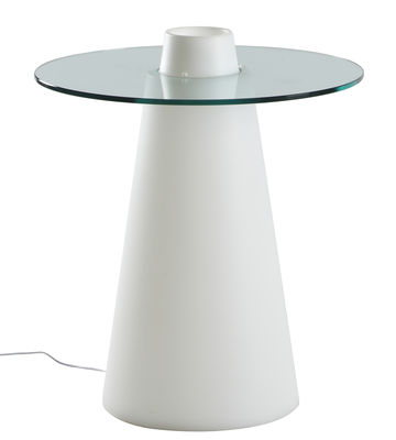 Table lumineuse Peak / Ø 80 - Slide blanc,transparent en verre