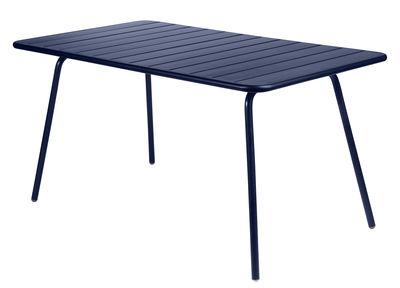 Table Luxembourg / 6 personnes - 143 x 80 cm - Aluminium - Fermob bleu abysse en métal