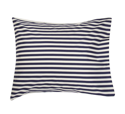 Taie d´oreiller Oiva Tasaraita / 65 x 65 cm - Marimekko blanc,bleu marine en tissu