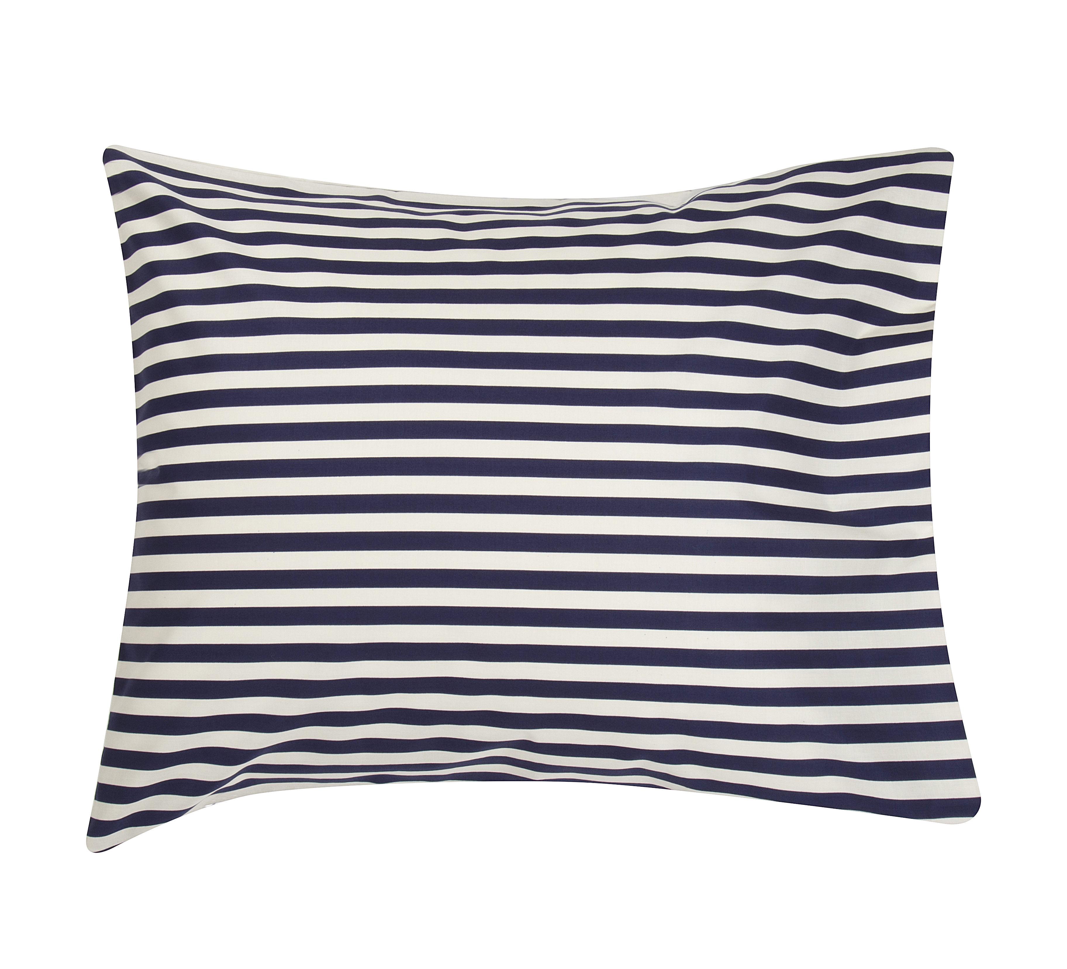 Déco - Coussins - Taie d'oreiller Oiva Tasaraita / 65 x 65 cm - Marimekko - Tasaraita / Blanc & bleu marine - Coton
