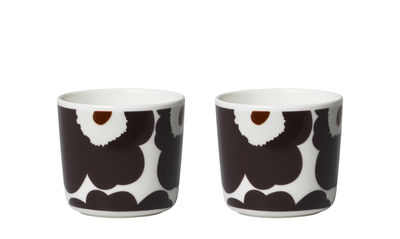 Tasse à café Unikko / Sans anse - Set de 2 - Marimekko marron foncé en céramique