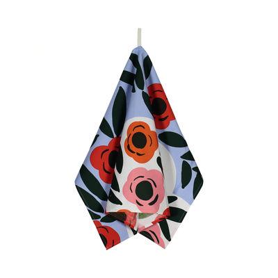 Cuisine - Tabliers et torchons   - Torchon Ruukku / 47 x 70 cm - Marimekko - Ruukku / Bleu clair, rouge, vert foncé - Coton