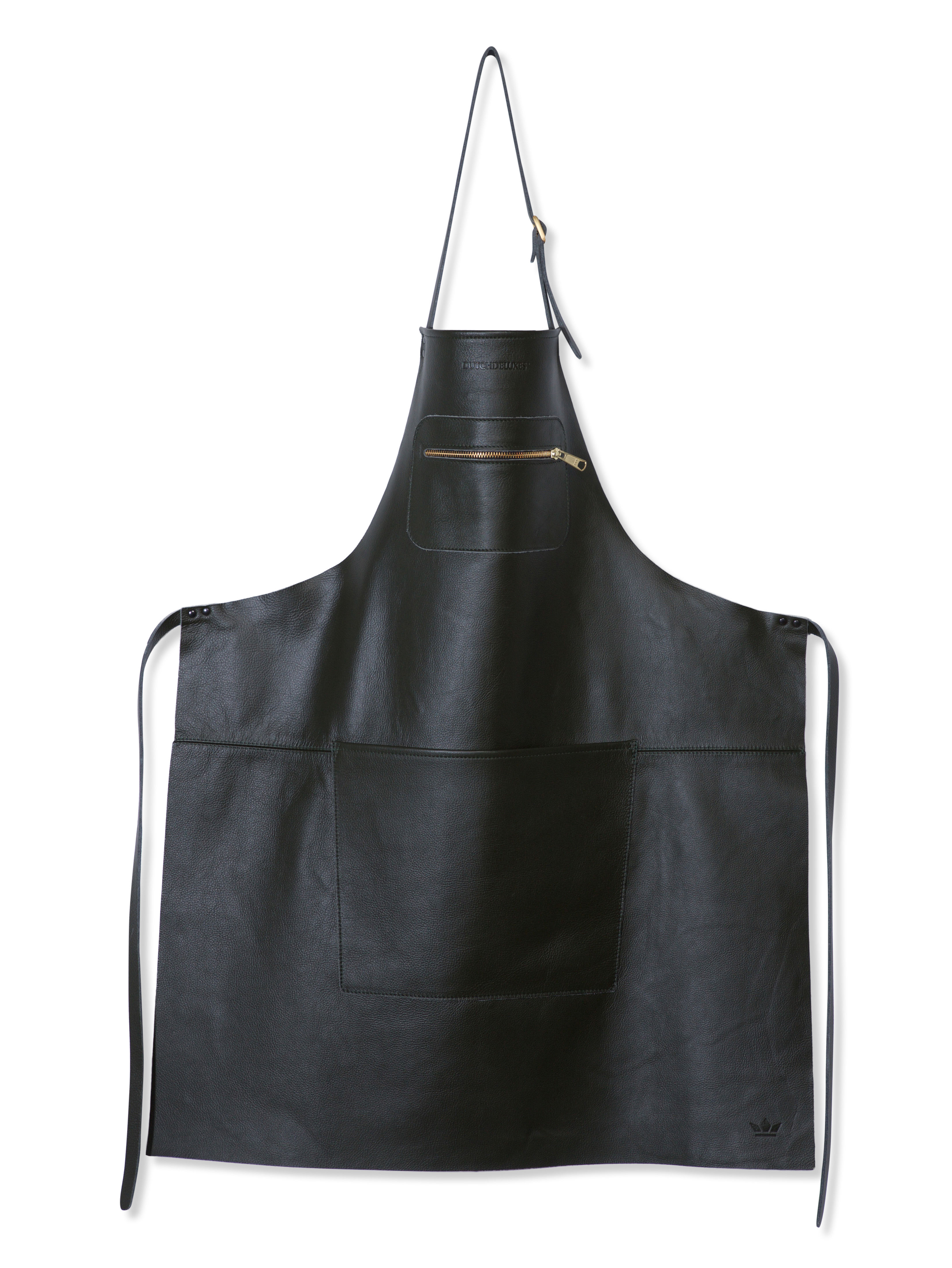 Kitchenware - Tea Towels & Aprons - Apron - leather / Zipped pocket by Dutchdeluxes - Black - Full grain leather