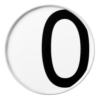 Assiette A-Z / Porcelaine - Lettre O - Ø 20 cm - Design Letters blanc en céramique