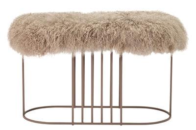 Mobilier - Poufs - Banc rembourré Posea Furry / Peau de mouton tibétaine - L 80 cm - Bolia - Rose / Base rose - Acier verni, Mousse, Peau de mouton tibétaine