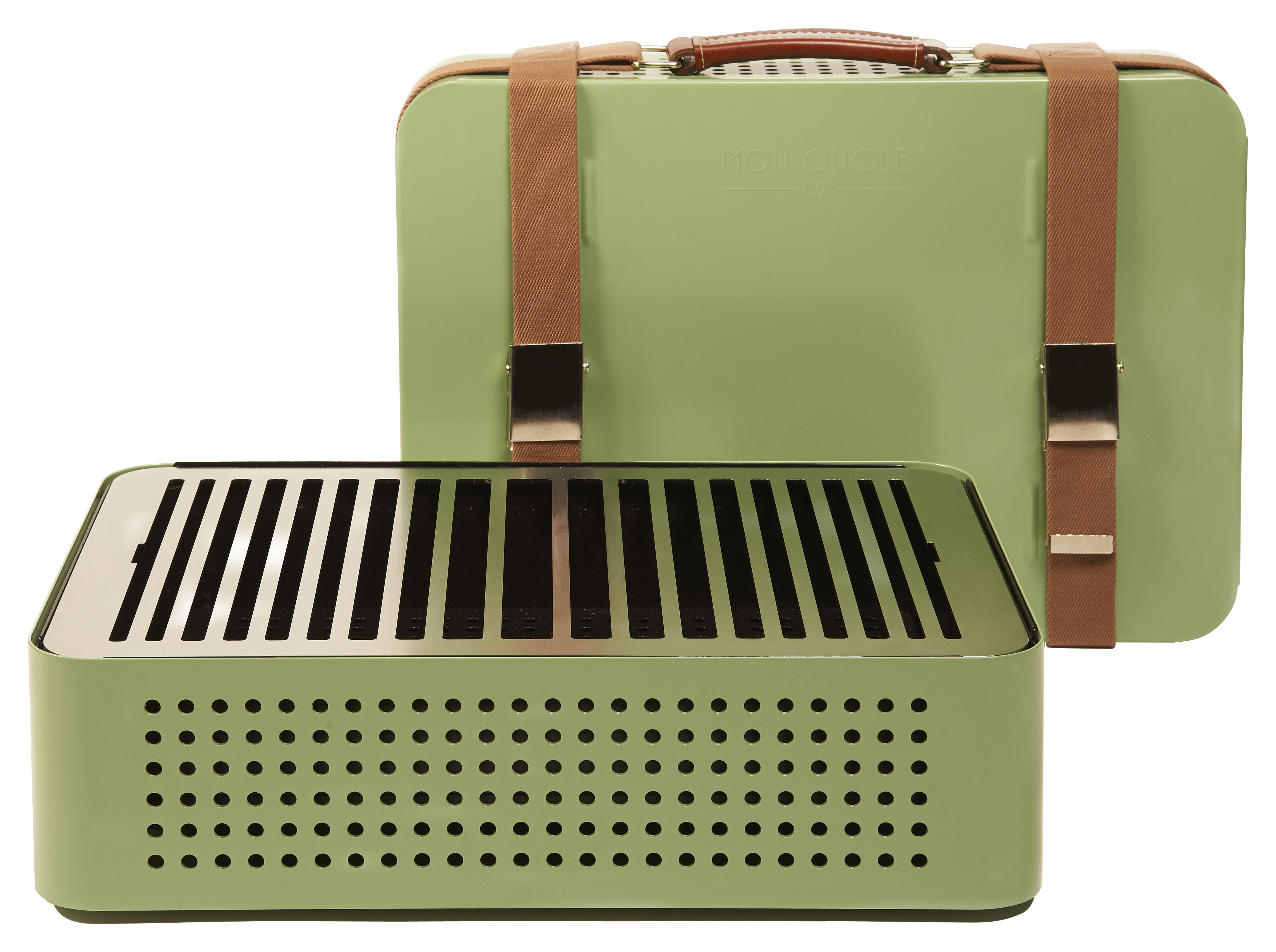 Outdoor - Barbecues et braséros - Barbecue portable à charbon Mon Oncle / 44 x 32 cm - RS BARCELONA - Vert - Acier inoxydable peint, Cuir, Tissu