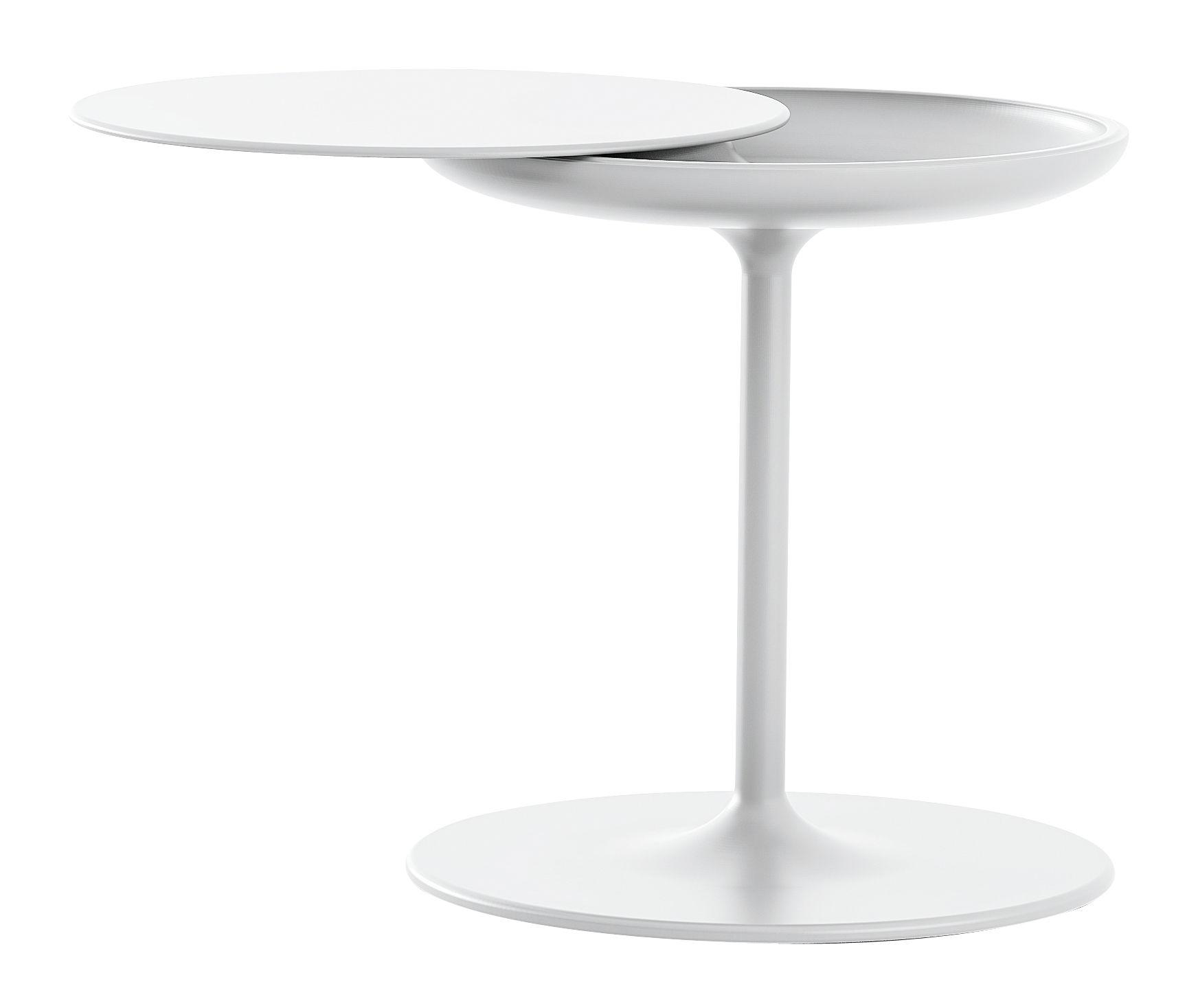Möbel - Couchtische - Toi Beistelltisch Ø 42 - H 50 cm - Zanotta - Weiß - Multicouches plaqué aluminium, Polyurhethan