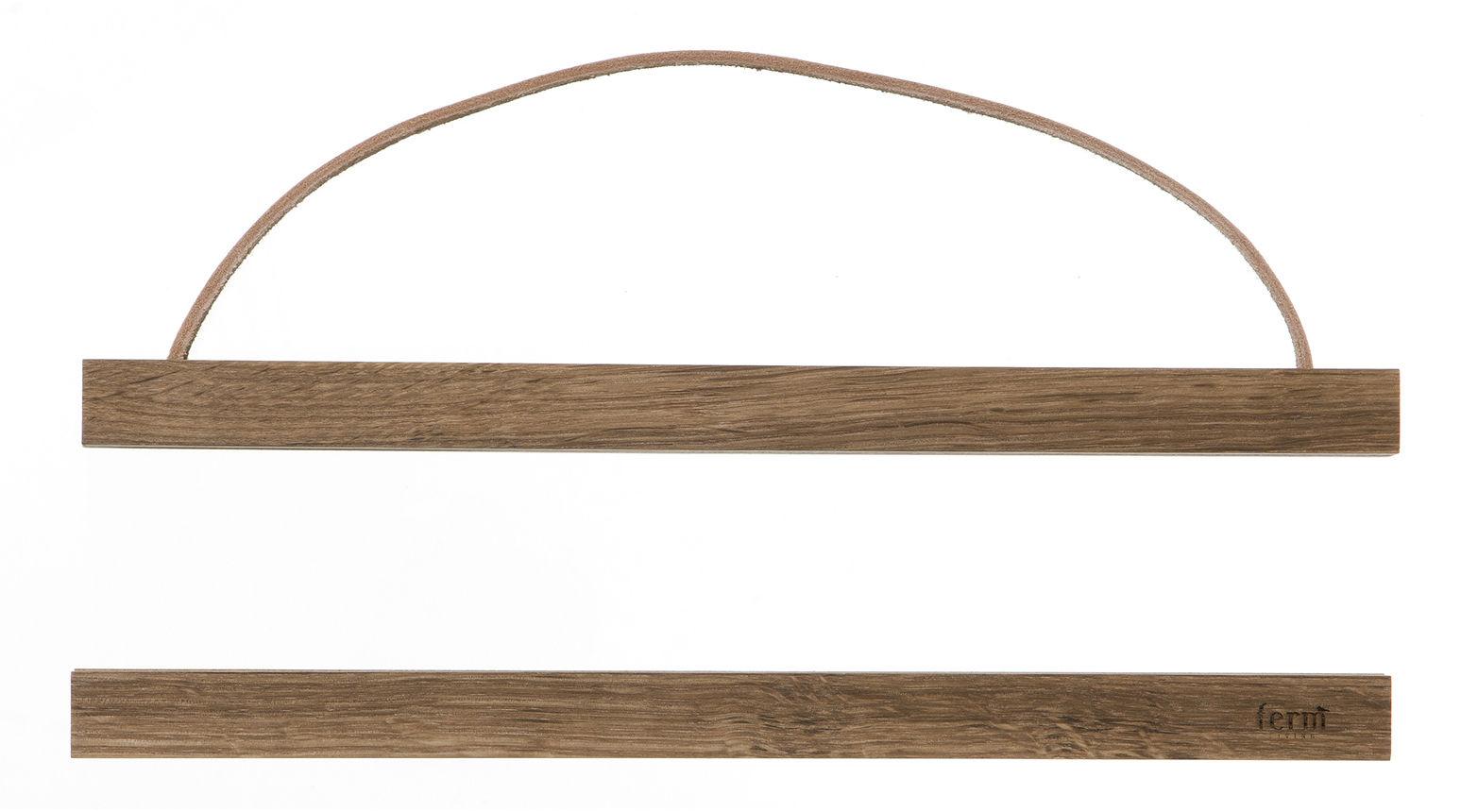 Déco - Objets déco et cadres-photos - Cadre-photo Wooden Small / L 31 cm - Ferm Living - Chêne fumé - Chêne fumé, Cuir